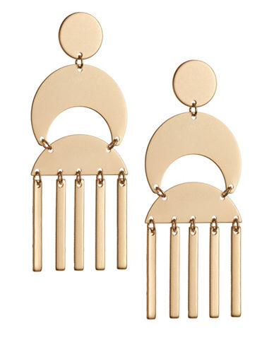 Expression Half Moon Geometric Drop Earrings-GOLD-One Size