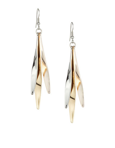 Expression Wavy Tri-Tone Drop Earrings-TRI TONE-One Size