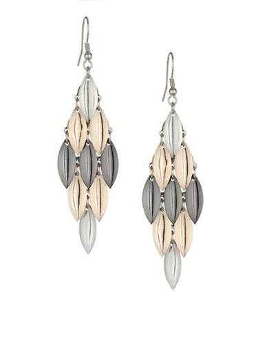 Expression Tear Drop Chandelier Earrings-TRI TONE-One Size