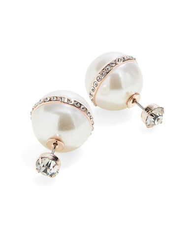 Expression Stone Back Pave Faux Pearl Earrings-PEARL-One Size