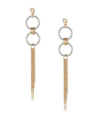 Expression Circle Drop Chain Earrings-TWO TONE-One Size