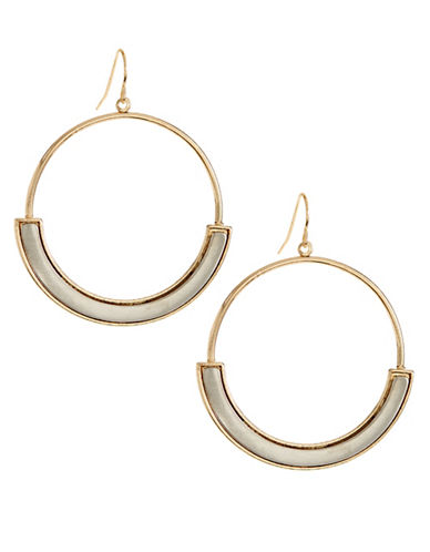 Expression Metal Drop Hoop Bar Earrings-GOLD-One Size