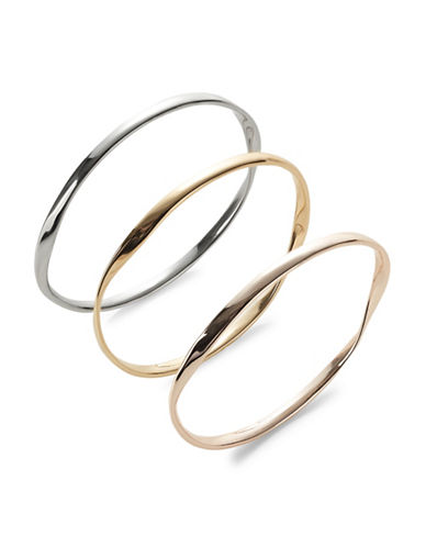 Expression Three-Piece Wavy Bangle Bracelet Set-TRI TONE-One Size