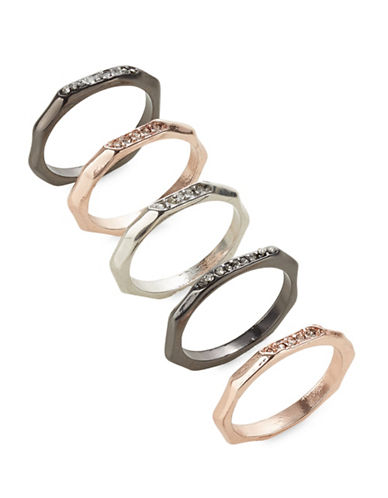 Expression Five-Piece Crystal Rings Set-ASSORTED-7