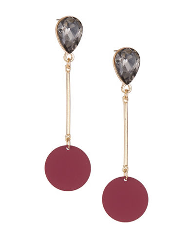 Expression Painted Disc Linear Drop Earrings-PURPLE-One Size