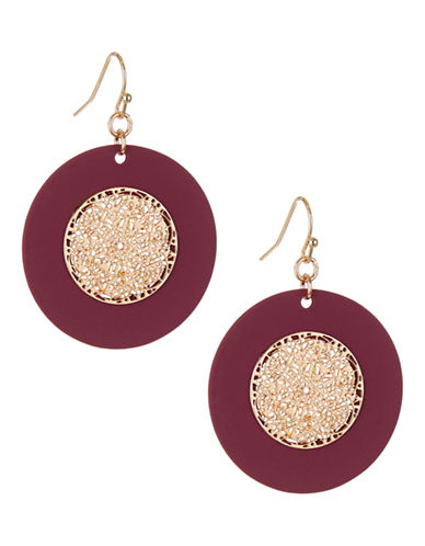 Expression Filigree Disc Earrings-PURPLE-One Size