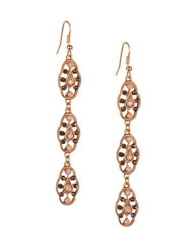 Expression Pave Linear Drop Earrings-PINK-One Size