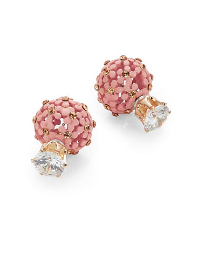 Expression Floral Front To Back Earrings-PINK-One Size