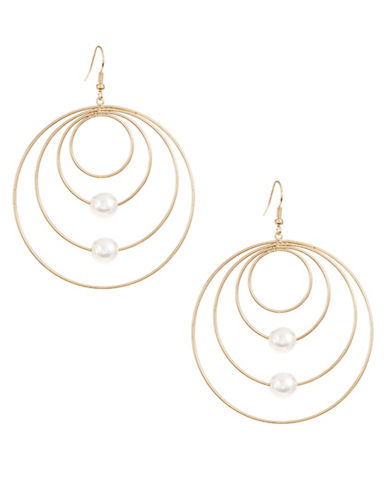 Expression Four-Row Hoop Drop Earrings with Faux Pearl-BEIGE-One Size