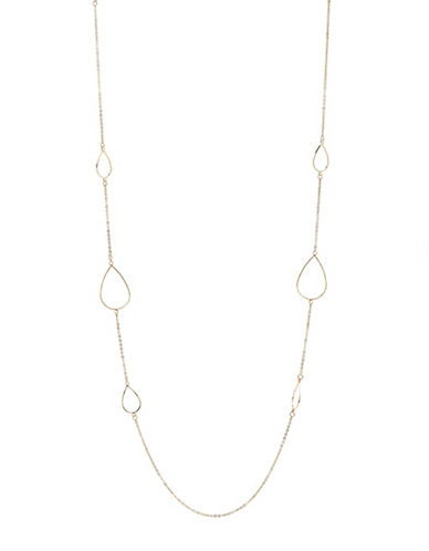 Expression Two-Row Beaded Leaf Station Necklace-GOLD-One Size