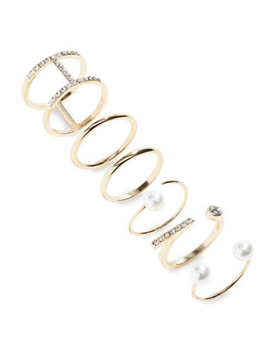 Expression Six-Piece Faux Pearl and Stone Ring Set-BEIGE-9