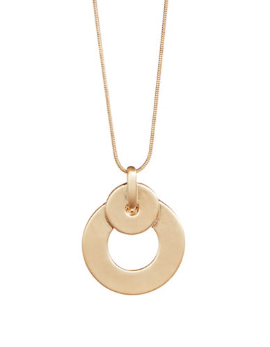Expression Disc Drop Pendant Necklace-GOLD-One Size