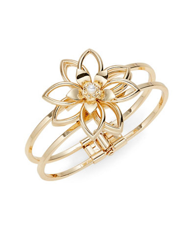 Expression Faux Pearl Flower Hinged Bracelet-GOLD-One Size