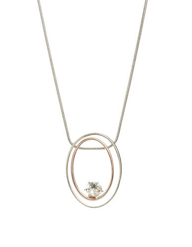 Expression Crystal Two Oval Pendant Necklace-TWO TONE-One Size