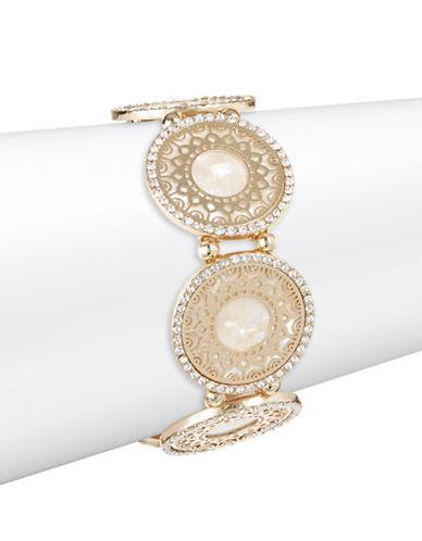 Expression Pave Crystal Filigree Disc Stretch Bracelet-GOLD-One Size