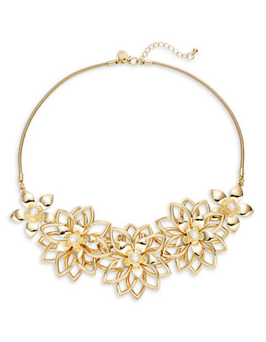Expression Filigree Flowers Statement Necklace-GOLD-One Size