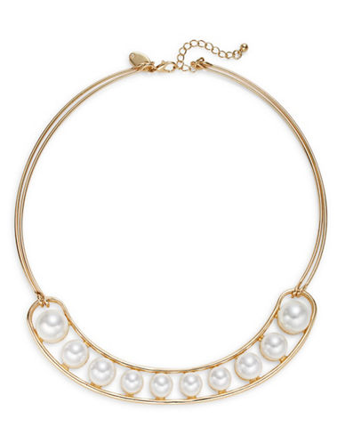 Expression Faux-Pearl Torq Necklace-WHITE-One Size