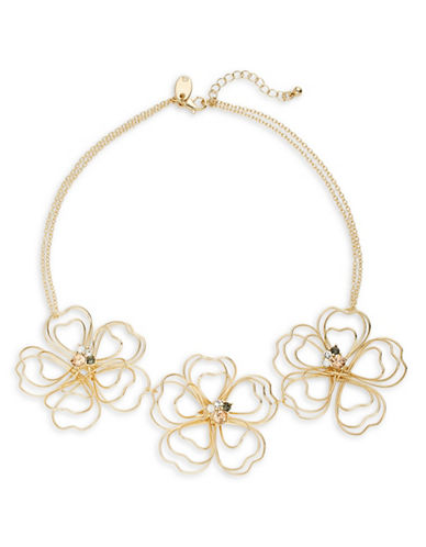 Expression Wire Flower Statement Necklace-GOLD-One Size