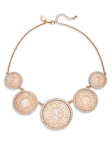 Expression Filigree Discs with Surround Stones Necklace-GOLD-One Size