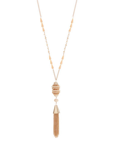Expression Beaded Tassel Pendant Necklace-PINK-One Size