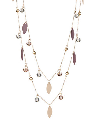 Expression Two-Row Dangle Bead and Leaf Necklace-PURPLE-One Size