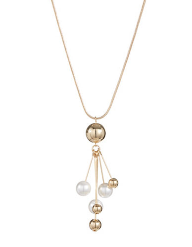 Expression Faux Pearl Drop Necklace-PEARL-One Size