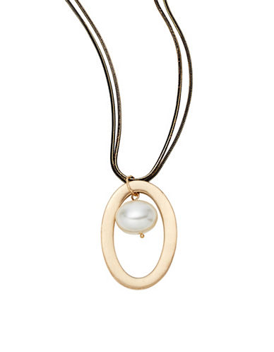 Expression Oval Faux Pearl Ring Necklace-PEARL-One Size