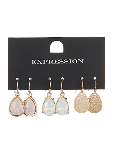 Expression Three-Pack Faceted Earrings-ASSORTED-One Size
