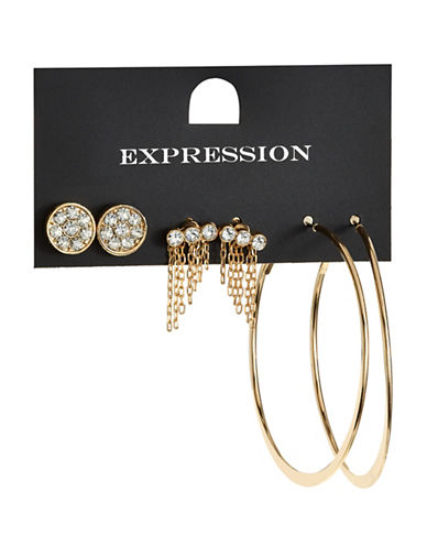 Expression Three-Piece Hoop Stud Stone Tassel Earring Set-GOLD-One Size
