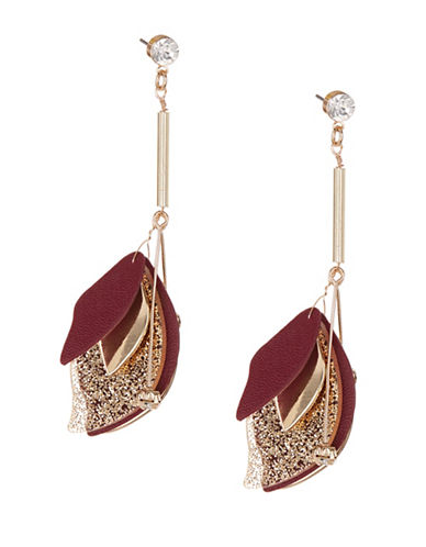 Expression Luxe Leaf Drop Earrings-PURPLE-One Size