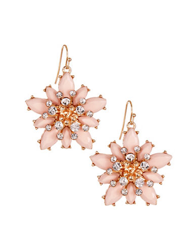Expression Navette Flower Drop Earrings-PINK-One Size