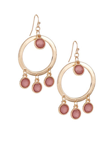 Expression Faceted Gypsy Hoop Earrings-PINK-One Size