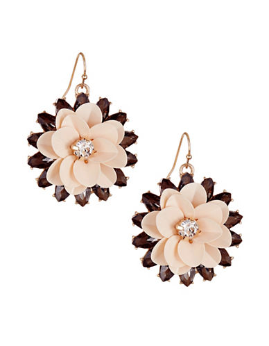 Expression Baroque Floral Drop Earrings-PINK-One Size
