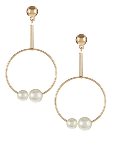 Expression Drop Hoop Faux-Pearl Earrings-WHITE-One Size