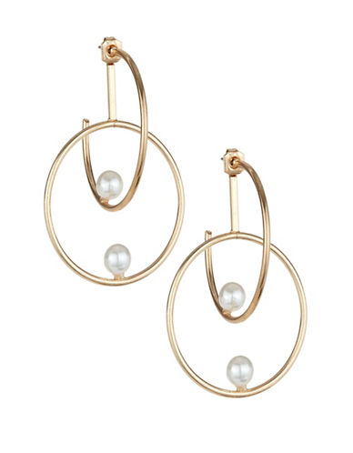 Expression Double Hoop Faux-Pearl Earrings-WHITE-One Size
