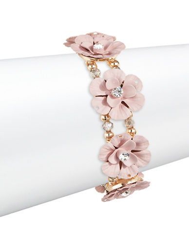 Expression Inner Stone Flower Stretch Bracelet-PINK-One Size