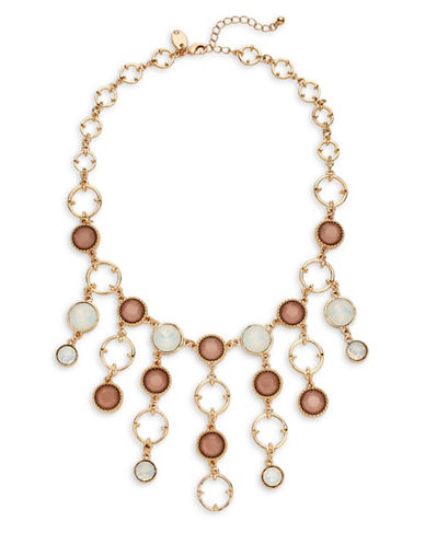 Expression Faceted Stone and O-Ring Statement Necklace-PINK-One Size