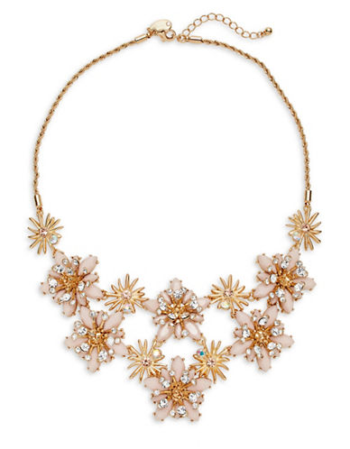 Expression Navette Flower Statement Necklace-PINK-One Size