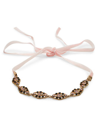 Expression Scalloped Filigree Self-Tie Velvet Choker-PINK-One Size
