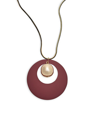 Expression Rubberized Disc Drop Ball Pendant Necklace-PURPLE-One Size