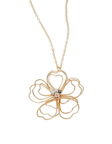 Expression Wire Flower Pendant Necklace-GOLD-One Size