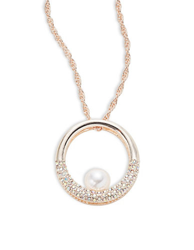 Expression Layered Ring Pendant Necklace-ROSE GOLD-One Size