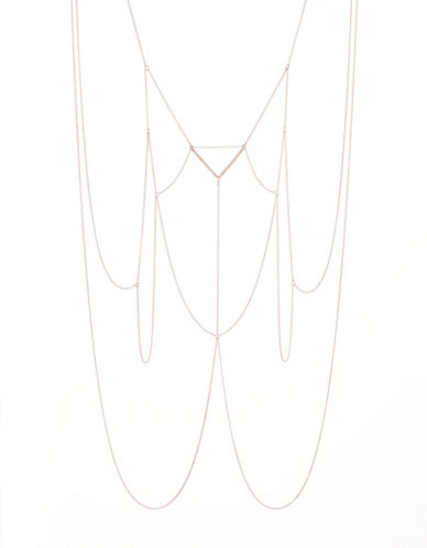 Expression V-Shape Rhinestones Body Chain-ROSE GOLD-One Size