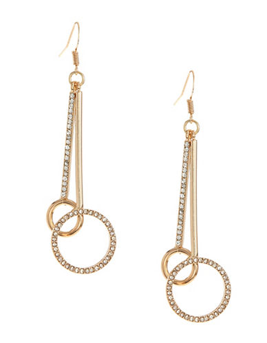 Expression Circle Bar Drop Earrings-GOLD-One Size