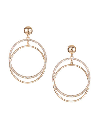 Expression Double Circles Drop Earrings-GOLD-One Size