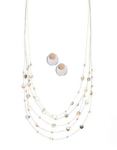 Expression Two-Piece Crystal Multirow Necklace and Disc Earrings Set-ASSORTED-One Size