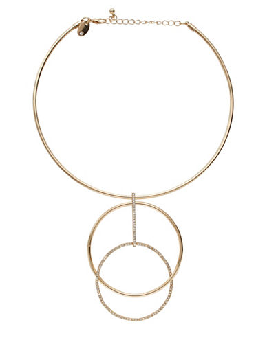 Expression Drop Stone Circle Necklace-GOLD-One Size