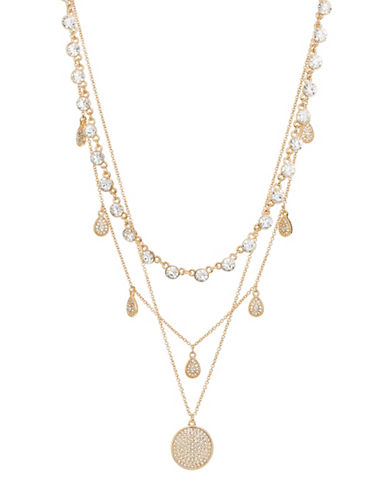 Expression Crystal Multi-Strand Necklace-GOLD-One Size