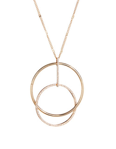 Expression Double Circle and Stone Necklace-GOLD-One Size