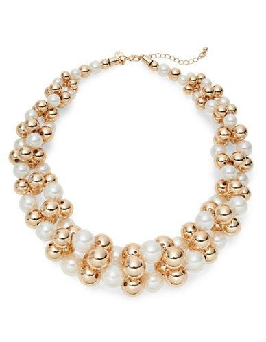 Expression Twisted Faux-Pearl Statement Necklace-BEIGE-One Size